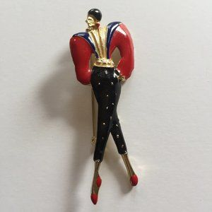 VINTAGE 1980's Lady Brooch Retro Women Figural Pin